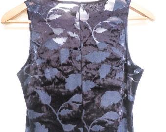 incredible 80's / 90's stretch velvet leaf dress