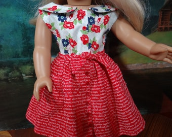 1950s three piece outfit for Maryellen or similar 18 inch doll, blouse, pedal pushers and skirt