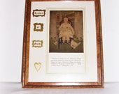 "ART ""Leaves Of Gold"" Inspirational Framed Altered Paper Art Vintage Page Card Art Religious Gold Heart Art"