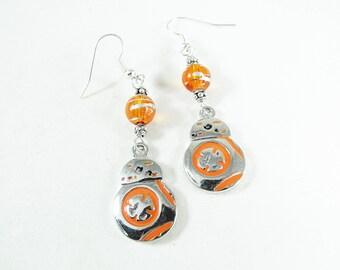Silver Dangle Earrings, Star Wars BB8 With Lampwork Beads  Womens Gift  Handmade