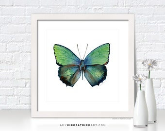Green Butterfly Painting, Butterfly Wall Art, Butterfly Print, Original Butterfly Watercolor, Butterfly Greeting Cards, 52 Arhopala Aurea