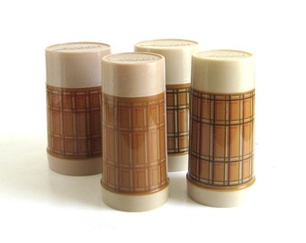 Aladdin Best Buy Thermos Bottles Plastic (set of 4) Wide Mouth, 10 oz  WM4020, 1 Pint WM4040 Tan Plaid Thermoses