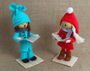 Christmas Carolers Caroler Figurine Christmas Ornaments Christmas Decoration Christmas Figurines Wood & Felt Christmas Decor Christmas Kids
