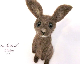 Bunny, Needle Felted Rabbit, Spring Bunny, Needle Felted Bunny, Brown Rabbit, Ready to Ship