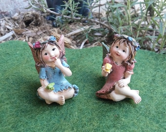 Tiny Fairy Girls Ready to Play in the Fairy Garden