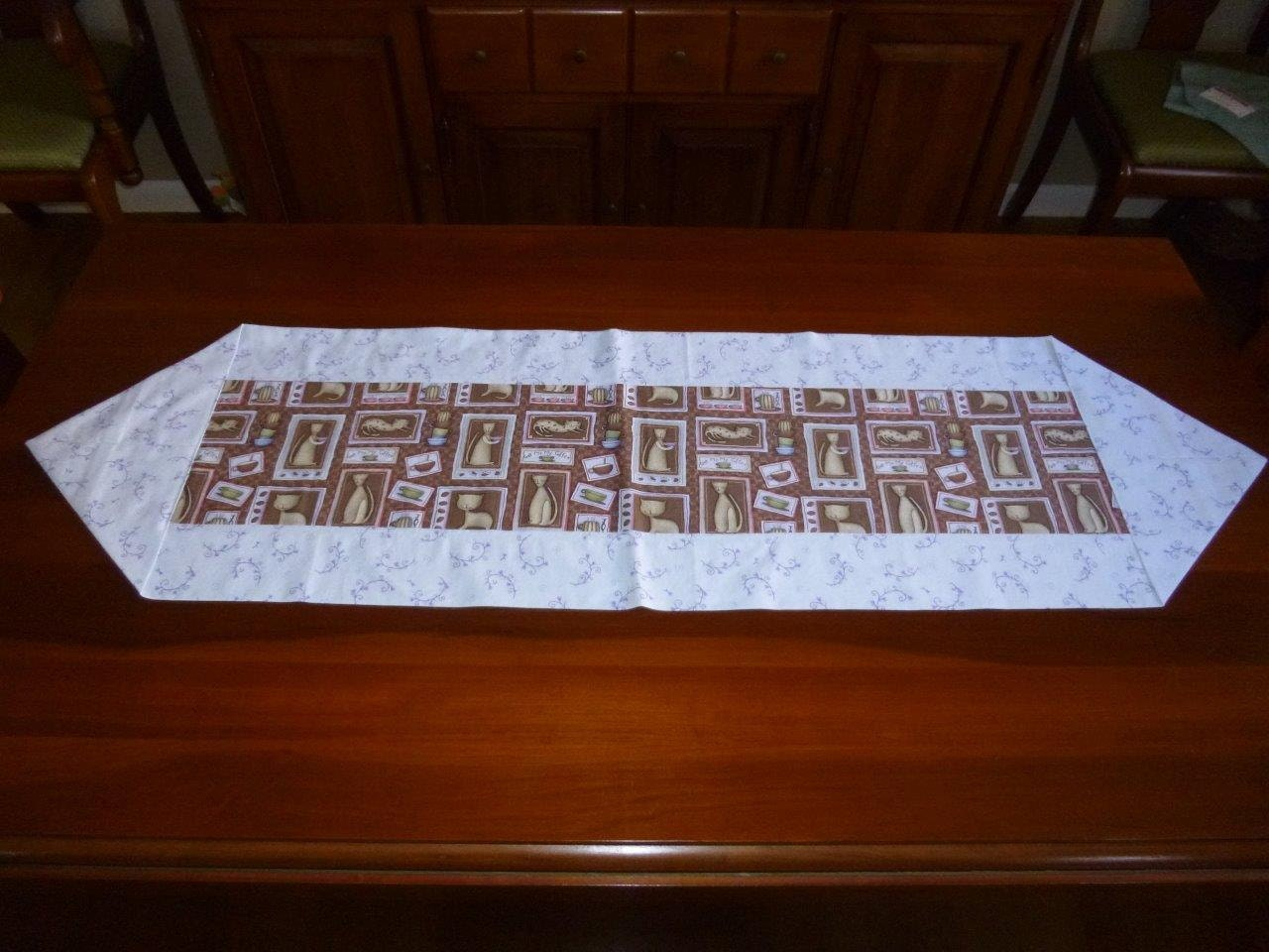 Coffee Table Runner Coffee Java Cats Light Blue Brown
