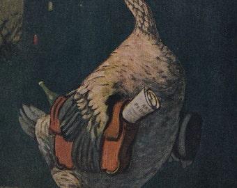 "V. Litvinenko ""Goose"", Postcard From the Series ""Endangered Species of Birds"" -- 1957"