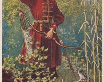 "V. Litvinenko's Illustration for Russian Folk Tale ""The Princess Frog"" Postcard -- 1958. Bad Condition (!)"