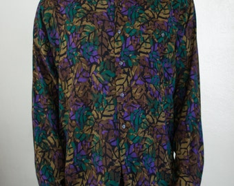 abstract leaves shirt - M