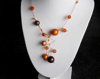 Illusion Necklace, Statement Necklace, Orange and brown Swirls Necklace, Illusion Necklace , Bridal necklace