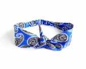 Bow Tie Headband, Bandana Style Blue Paisley Vintage Inspired Head Scarf