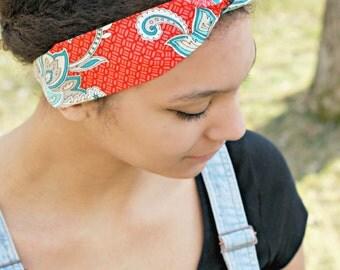 Paisley Orange Headband, Bright Summer Bandana Hair Scarf Headband, Bow Tie Hair Accessory