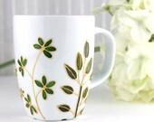Green Foliage Mug, Hand Painted Porcelain Mug, Coffee Mug, Tea Mug, Porcelain Mug with Leaves, Botanical Design, Ready to Ship