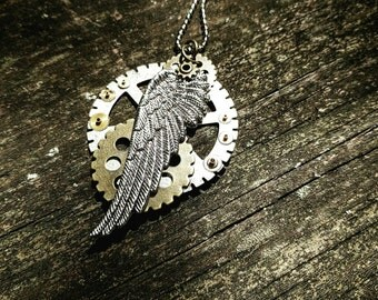 Industrial Neo-Victorian Repurposed Handmade Ooak Machinery Steampunk Silver Wing Necklace
