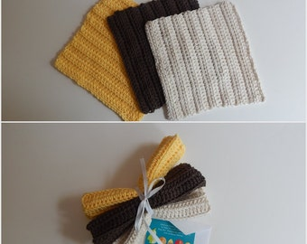 Dishcloth Gift Set – Crochet - Includes Gift Card – Yellow Brown Natural