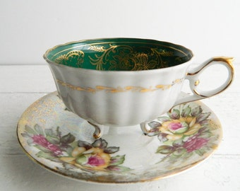 Vintage Green Rose Mismatched Tea Cup & Saucer - Porcelain Tripod Teacup and Opalescent Plate