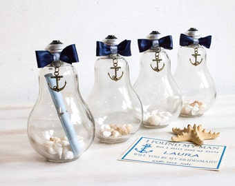 message in a bottle bridesmaid proposal maid of honour will you be my bridesmaid nautical invitation - Message In A Bottle Wedding Invitations