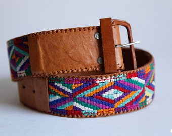 Vintage Thick Oversized Colorful Embroidered Camel Leather Belt Hand Made in Guatemala size Medium - SA