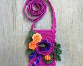 Floral case iPhone 6 Crossbody bag Crochet smartphone purse with flowers Purple orange wedding Maid of honor gift Mom gift Grandma gift