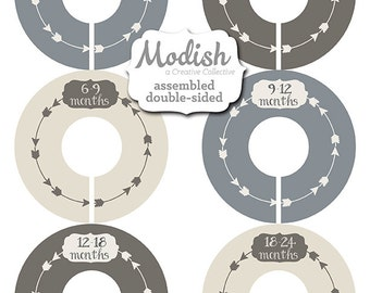 Closet Dividers, Assembled, Baby Closet Dividers, Closet Organizers, Boy, Tribal Nursery Decor, Arrows, Gray, Grey, Brown, Beige, Baby Gift