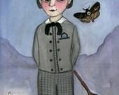 Victorian Portrait, Gideon, Watercolor Illustration (6 x 8) Victorian Boy, Dead-Head Moth Art, Goth Decor