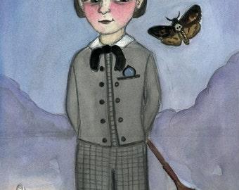 Victorian Portrait, Gideon, Watercolor Painting (6 x 8) Victorian Boy, Dead-Head Moth Art, Goth Decor (6x8)