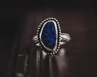Raw Azurite Sterling Silver Ring-Rough Druzy Azurite Ring-Vintage Inspired Druzy Ring-Royal Blue Druzy Ring-Dark Romantic Jewellery