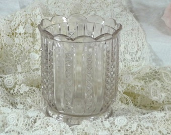 Spooner or Celery Jar Pressed Glass Turning Purple with Age