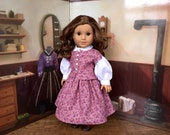 1860s Purple Floral Dress for Addy or 18 inch Doll