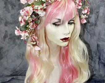 SALE: Pretty in Pink Flower Fairy- Pale Blonde Full Wig W/ Hair Headpiece. Costume Renaissance Wedding Burning Man BOHO LARP Modeling