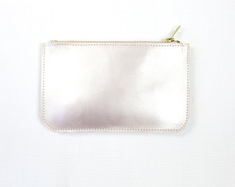 HALO Leather Clutch. Natural Leather Pouch. Pearl Leather Clutch. Small Peach Wallet. Bridal Clutch. Simple Leather Clutch