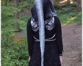 Fairy Festival Hood - Snow Dragon - Long Knitted Pointed Hood - READY TO SHIP