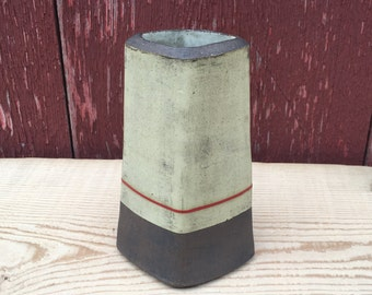 Green Bud Vase with Red Line