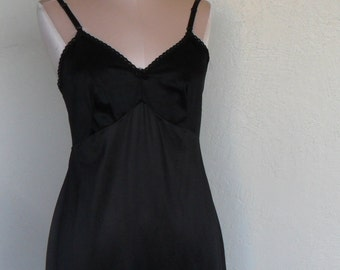 Vintage Full Slip Black L'eggs Size 34 Slip Dress