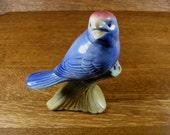 Vintage Perching Bird Ceramic Figurine Lovely Deep Blue with Red Rose Colored Cap Head