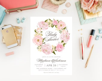 Romantic Wreath Baby Shower Invitation