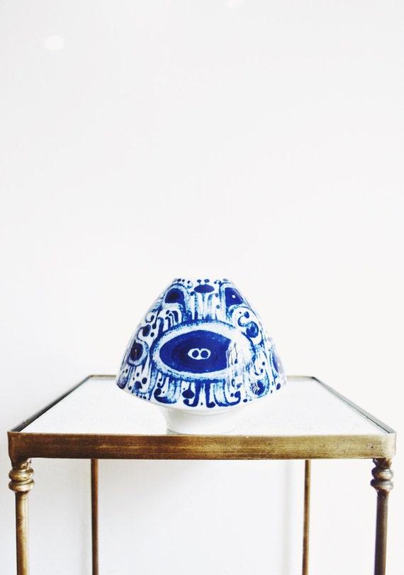 Modernist Indigo and White Glazed Porcelain Vase // Furstenberg // Mid Century Modern Decor