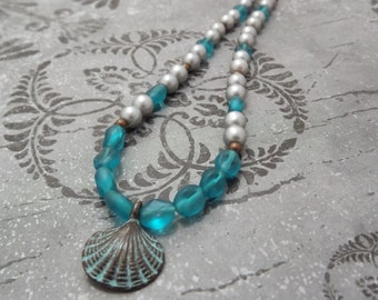 Teal Sea Glass and Glass Pearl Sea Shell Necklace