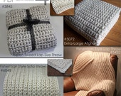Afghan Blanket Crochet PATTERNS /Super Quick & Bulky / Bundle of 4 PDFs - 3845, 5072, 5432, 6048