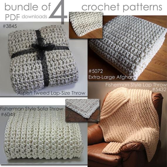 Crochet Blanket Patterns Quick : Afghan Blanket Crochet PATTERNS /Super Quick & Bulky / Bundle