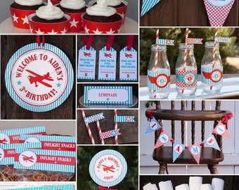 Airplane Birthday Party Decorations Package - Printable - Vintage Airplane Birthday DIY Printable - PERSONALIZED- Teal, Red & White