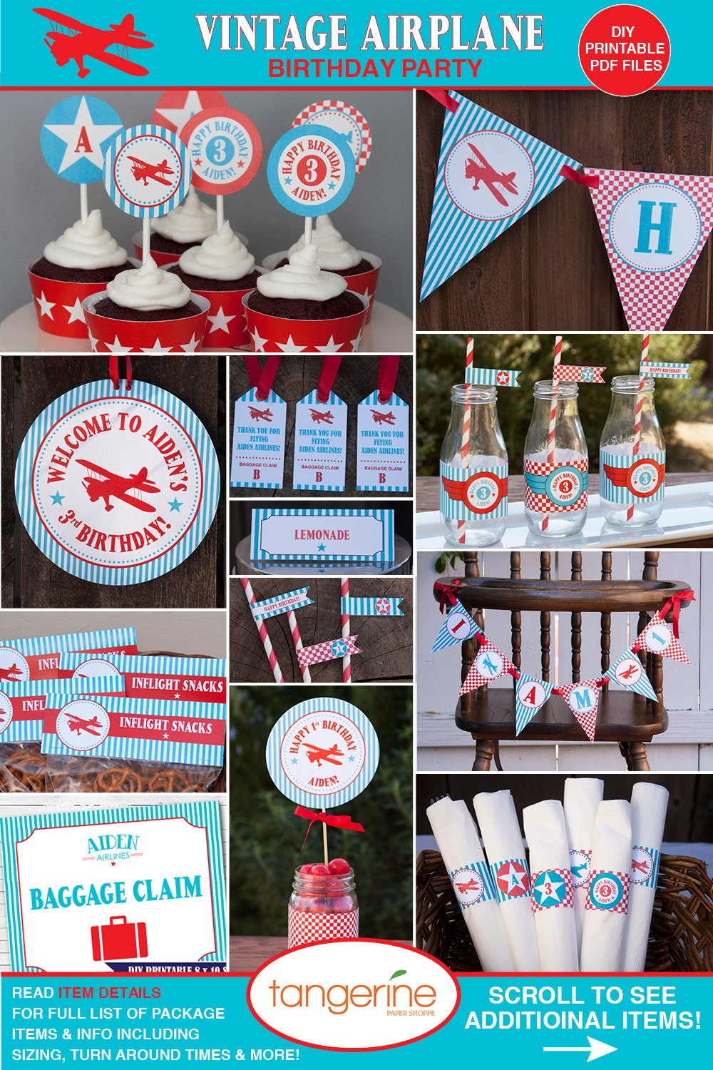 Airplane birthday decorations package by tangerinepapershoppe for Airplane party decoration
