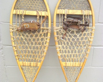 """Antique Wood Snowshoes Rustic Lodge Decor Northwoods 36"""" x 12.50"""" - Leather Boot Bindings - Michigan Maine Beavertail Algonquin - #2"""