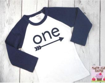 First Birthday Boy-First Birthday Boy Outfit-First Birthday Boy Shirt-First Birthday Shirt-First Birthday Boy Gift-Navy Blue Raglan Shirt