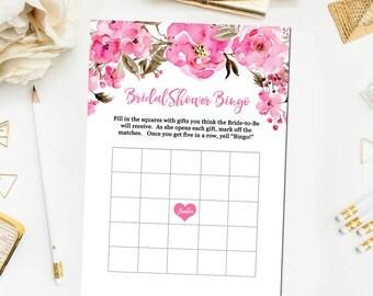 Pink Floral Bridal Shower Games Pink Bridal Bingo Bridal Shower Games Pink Floral Bridal Shower Game Print Instant Download BR30