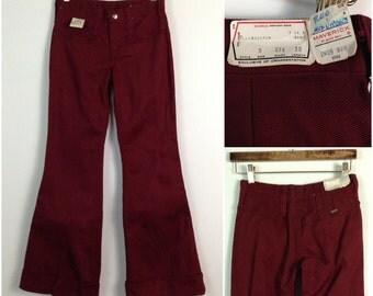 Vintage NOS 1960s Burgundy Low Rise Hip Hugger Bell Bottom Jeans Pants / Women's XS  / 60s Glam Hipster Boho Unworn Deadstock
