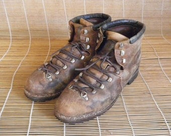 Vintage Brown Leather Ankle Lace Up Boots Shoes Swiss Made Size EUR 41 / US Man 8