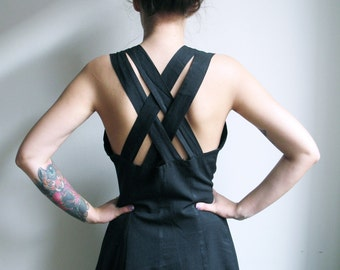 90s Grunge Black Maxi Dress Criss Cross Back Sundress Daydress Button up Dress Grunge Goth