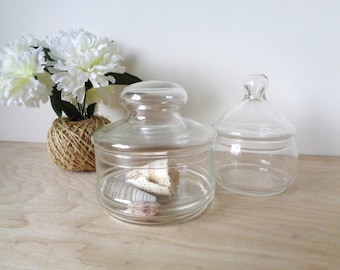 Vintage Glass Apothecary Jar with Lid - Two Styles