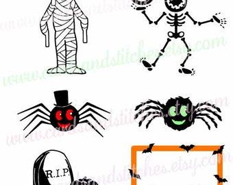 Halloween SVG - Spiders Svg - Skeleton Svg - Mummy Svg - Digital Cutting File - Vector File - Instant Download - Svg, Dxf, Jpg, Eps, Png